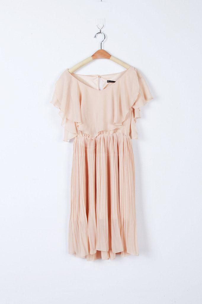 Charming Flouncing Embellished Plunging Neck Pleated Chiffon Dress For Women