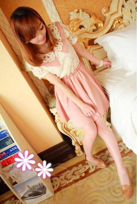 Sweet Knitting Flower Neck Lace Embellished Nipped-Waist Design Dress For Women