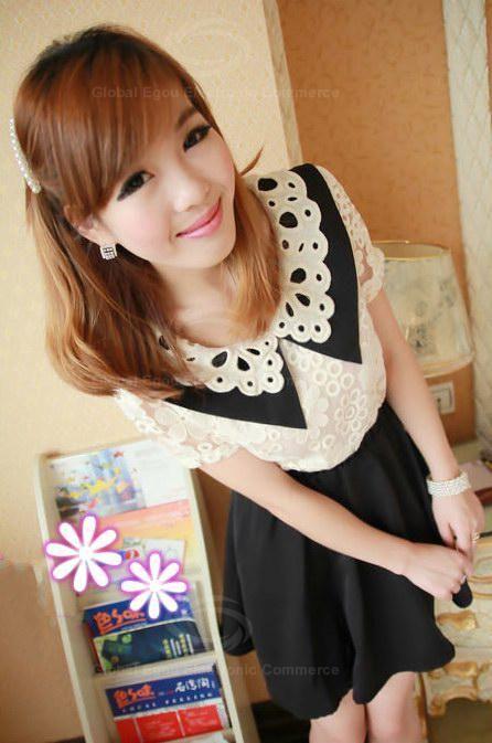 Sweet Knitting Flower Neck Lace Embellished Nipped-Waist Design Dress For Women