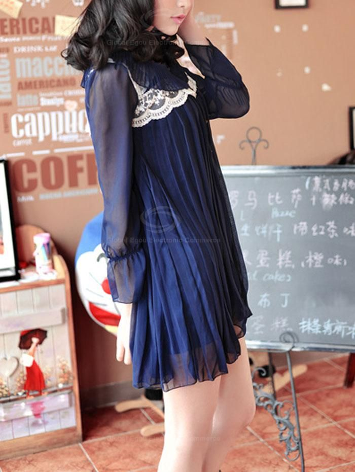 Graceful Style Lace Embellished Collar Three Quarter Sleeve Pleated Chiffon Dress For Women