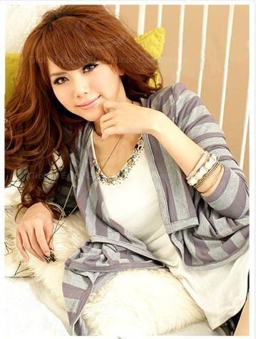 Fashionable Stripe Color Block Long Sleeve Coat For Women
