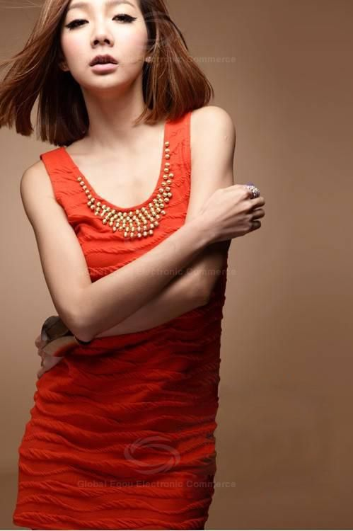 Delicate Scoop Neck Solid Color Gold Beads Embellished Sleeveless Cotton Sundress For Women