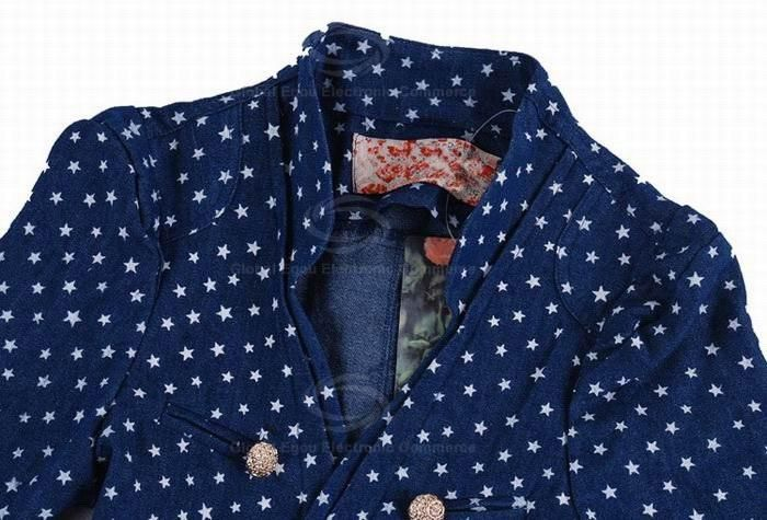 Preppy Style Sweety Lapel Double-Breasted Series Star Print Navy Short Sleeves Cotton Coat For Women