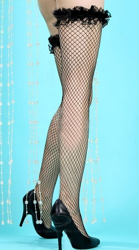 Sexy Design Voile Solid Color Lace Hem Long Stockings For Women