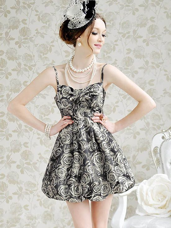 Sexy and Sweet Rose Print Deep Gray Sleeveless Dress For Women