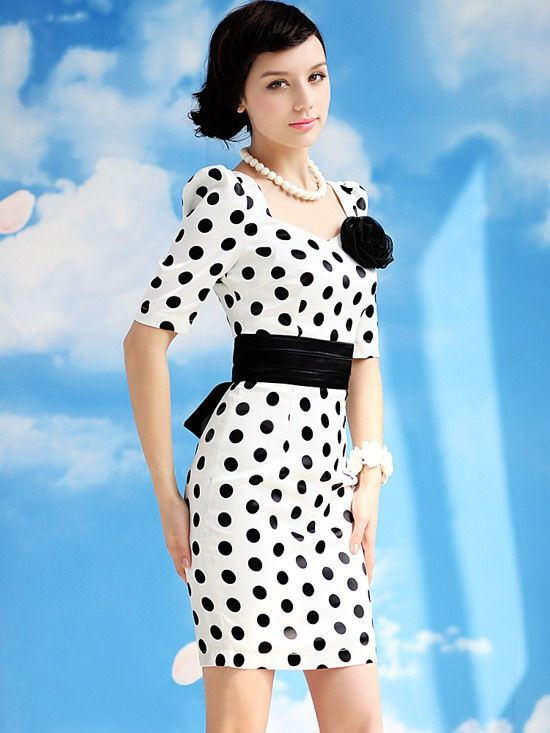 Lady Style Elegant Large Polka Dot Embellished Short Sleeves Dress For Women