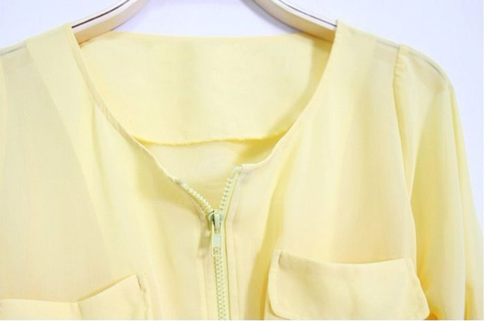 Round Neck Zipper and Pocket Design Loose Fitting  Chiffon Shirt For Women