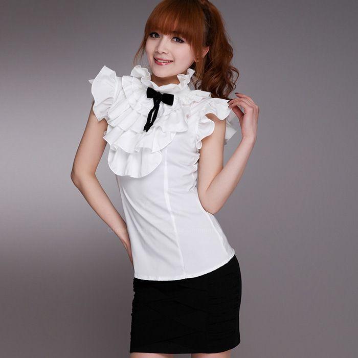красивые блузки с воротником