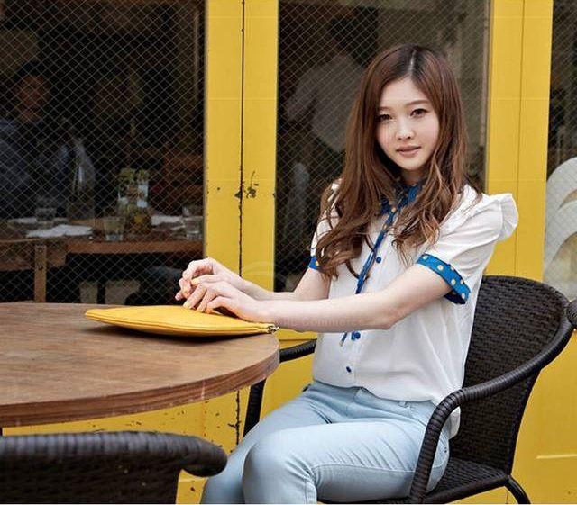 Preppy Style Sweet Lapel Single-Breasted Polka Dots Embellished Short Sleeve Chiffon Shirt For Women