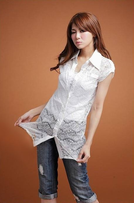 Delicate Lapel Solid Color Openwork Single-Breasted Short Capped Sleeve Lace Coat For Women