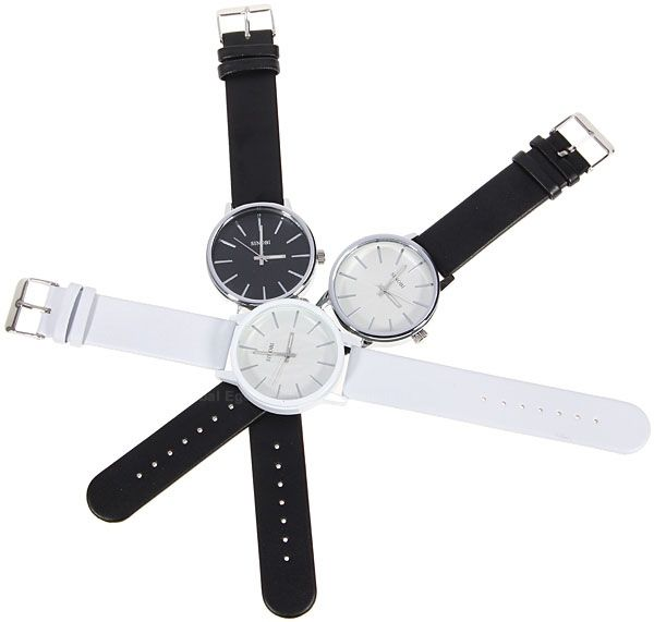 Sinobi Male Wrist Watch Leather Band Noctilucent Analog Round Shaped Dial