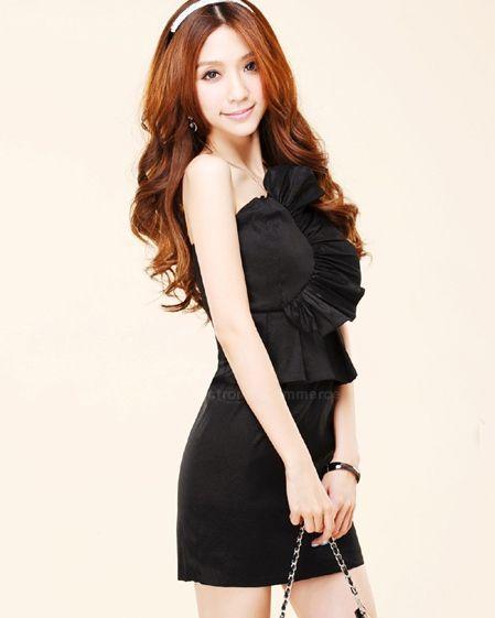 Strapless and Solid Color Design Flouncing Embellished Dress For Women