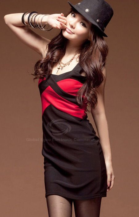 Sexy Wide Strap and Color Block Design Sheath Dress For Women