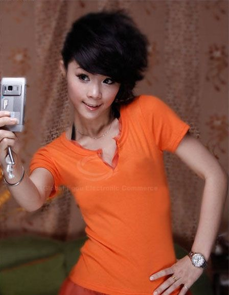 Casual V-Neck Hem Puff Short Sleeves Faux Twinset Cotton T-Shirt For Women