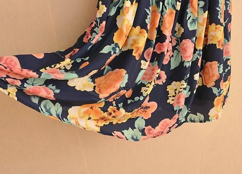 Retro Style Floral Printed Lapel Sleeveless High Waist Chiffon Dress For Women