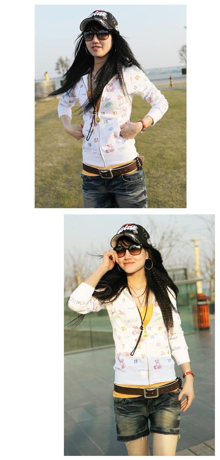 Cute Bear Long Sleeve Hooded Zipper Coat For Women