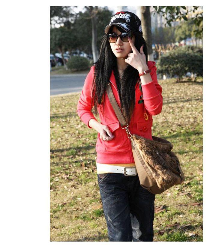 Double Pocket Cute Rubbit Long Sleeve Hooded Zipper Coat For Women