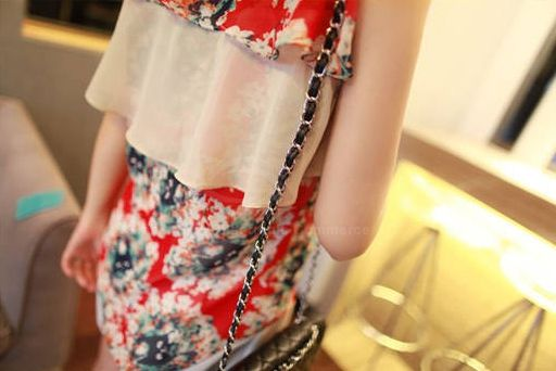 Women's Sleevesless Chiffon Shirt With Tiny Floral Print and Flounce Embellished