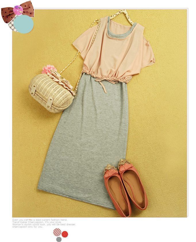 Solid Color Sundress and Off Shoulder Design Chiffon Blouse Two Piece Set For Women
