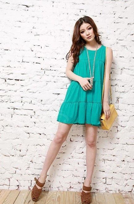 Elegant Slimming Fit Sleeveless Scoop Neck Solid Color Dress For Women