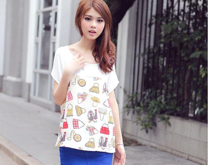 Women's Pluse Size Chiffon Shirt With Funny Pattern Print Design