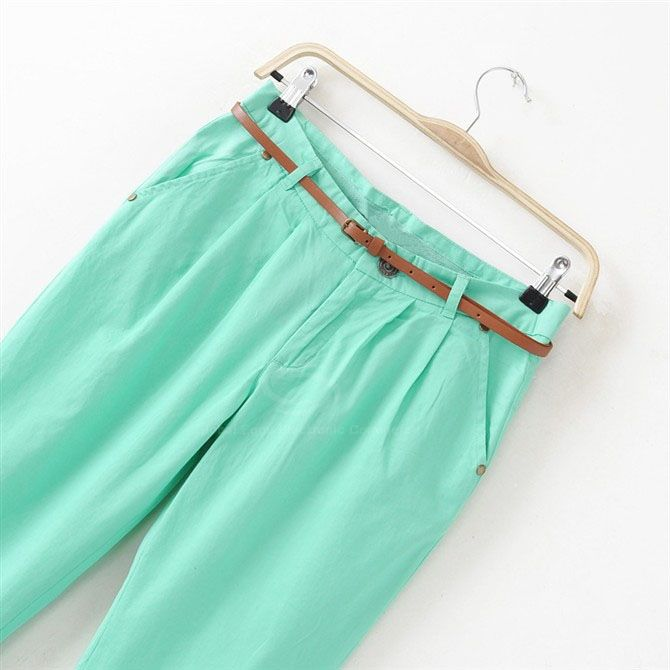 Women's Casual Trousers With Solid Color and Ruffled Design