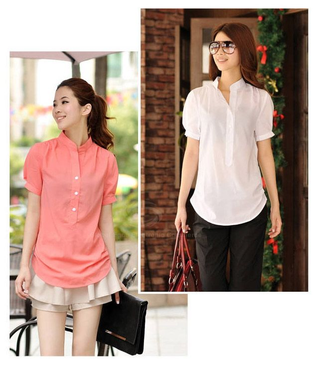 Women's Chiffon Shirt With V-Neck Short Sleeve Asymmetric Hem Transparent Design