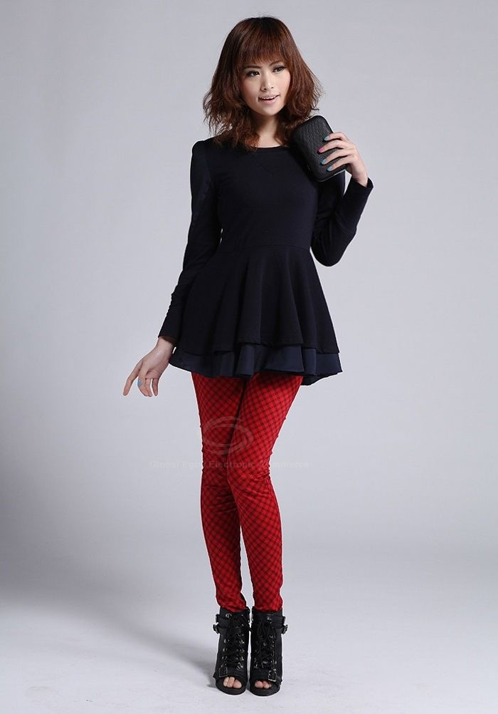 Fashionable Slimming Checked Design Skinny Elastic Bottoming Pants For Women