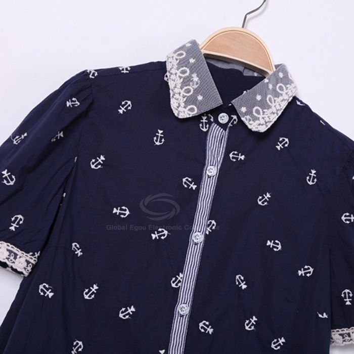 Women's Sweet Shirt With Lace Embellished Collar and Cuff Design