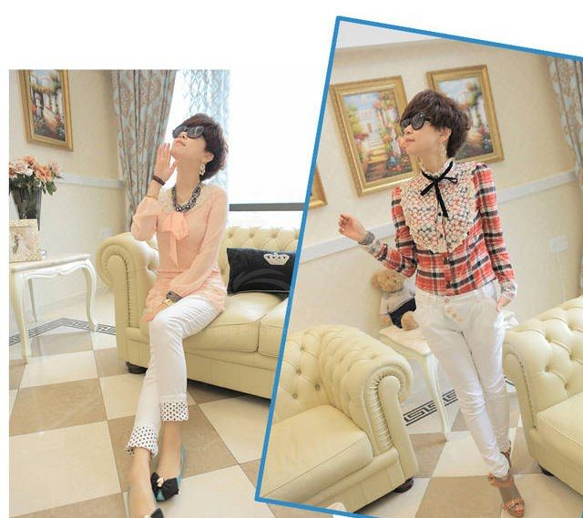 Causal Skinny Trousers with Polka Dot Bottom for Women