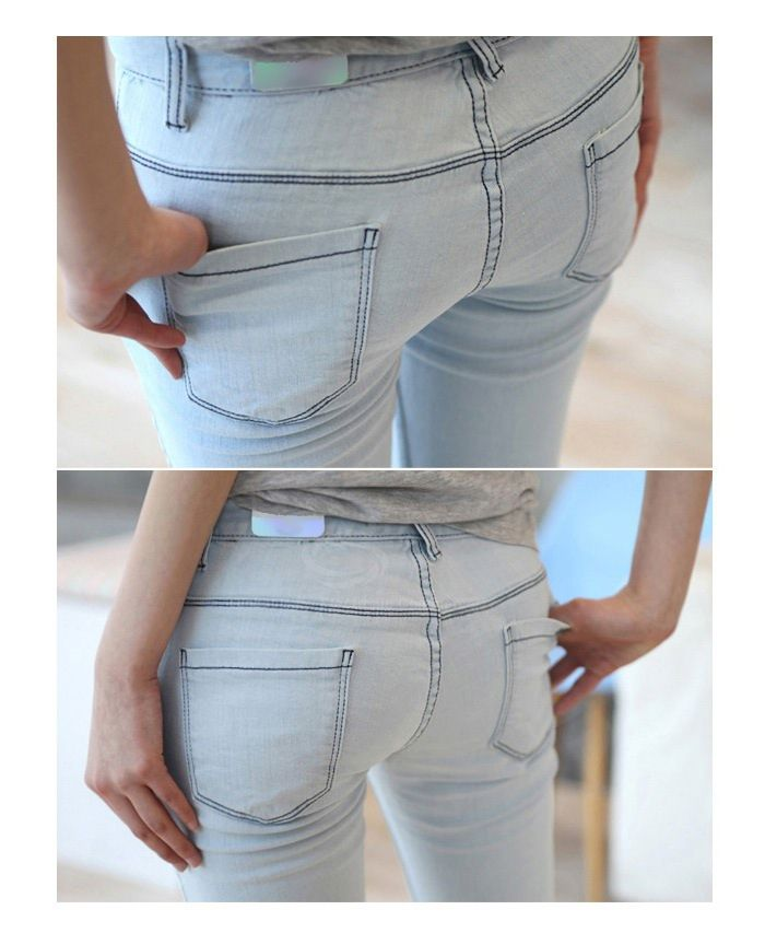 Simple Design Narrow Feet Solid Color Jeans Pants For Women