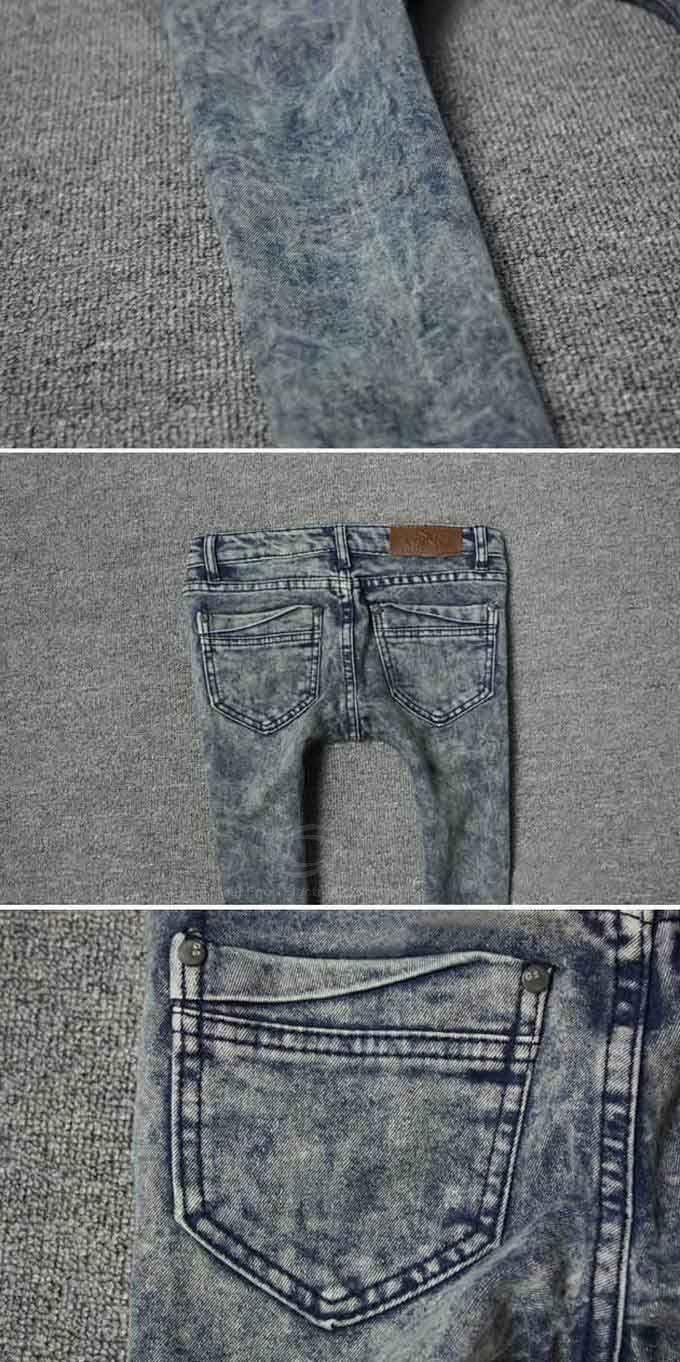 Snow Wash Narrow Feet Skinny Jeans Pants For Women