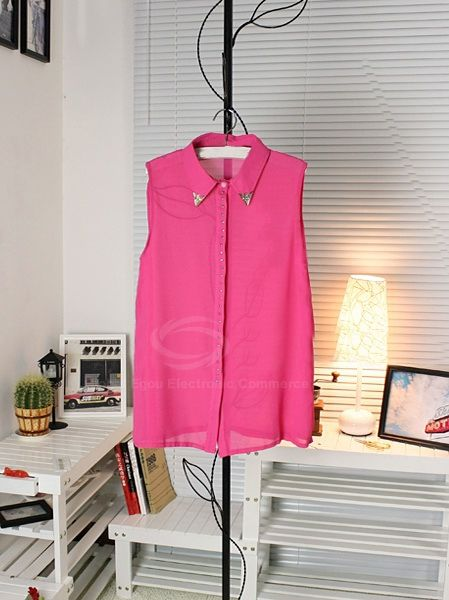 Women's Chiffon Refreshing Shirt With Stud Embellished Sleeveless Single-Breasted Solid Color Design