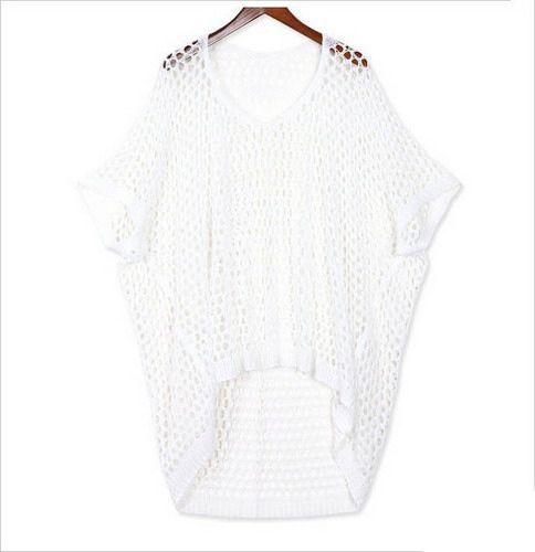 Scoop Neck Mesh High-Low Hem Bat-Wing Short Sleeve Knitting Women's Casual Knitwear(Multicolor)