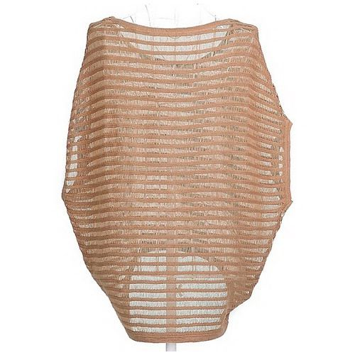Scoop Neck Stripe Openwork Short Dolman Sleeve High-Low Hem Knitting Women's Casual Knitwear