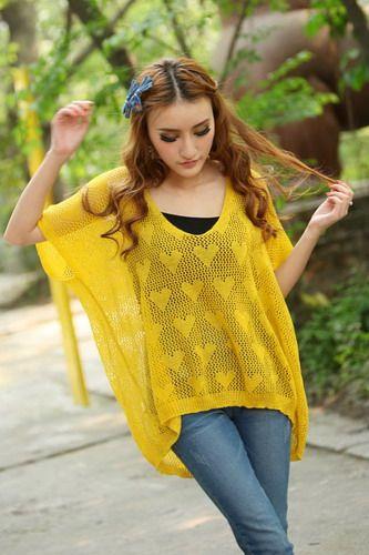 Scoop Neck Openwork Heart Print Half Dolman Sleeve High-Low Hem Knitting Women's Casual Knitwear