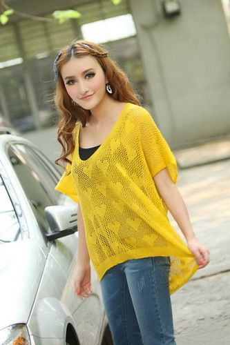 Scoop Neck Openwork Heart Print Half Dolman Sleeve High-Low Hem Knitting Women's Casual Knitwear