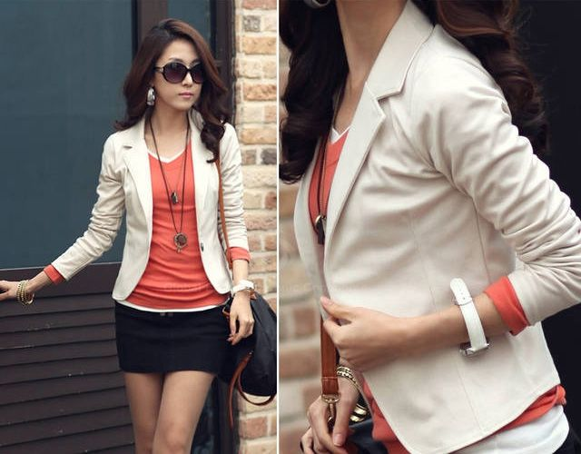 Slimming Turn-Down Collar Single-Breasted Long Sleeves Suiting+Cotton Women's Blazer