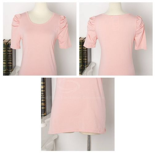Elegant Style Scoop Neck Pure Color Three-Quarter Puff Sleeves Polyester  Women's Blouse