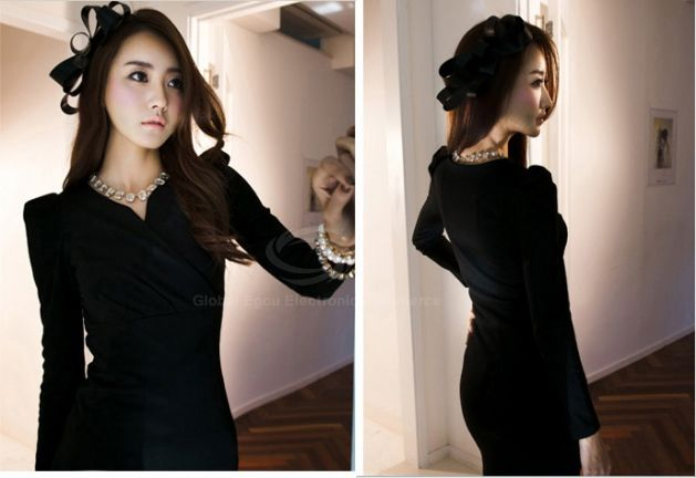 Elegant V-Neckline Puff Sleeve Ruffled and Bodycon Design Women's Cotton Blended Dress
