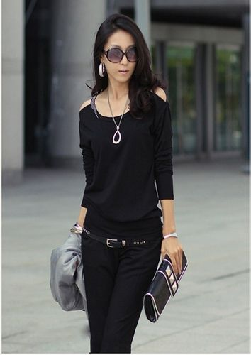 Scoop Neckline Solid Color Simple Slimming Style Off-the-Shoulder Long sleeve Cotton Women's T-Shirt