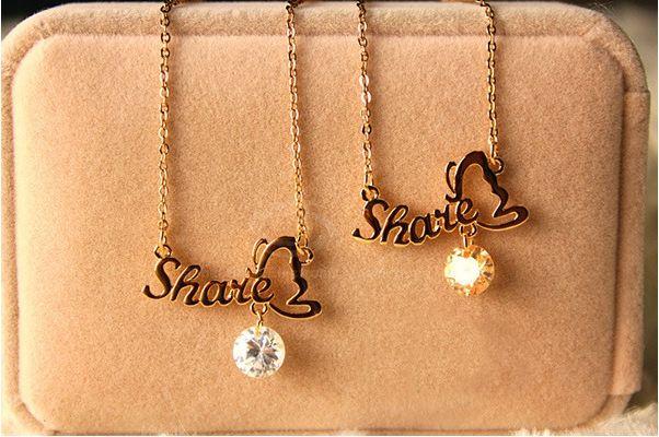 Elegant Smile Word Shape Bowknot Shape Rhinestone Embellished Pendant Collarbone Alloy  Women's Necklace