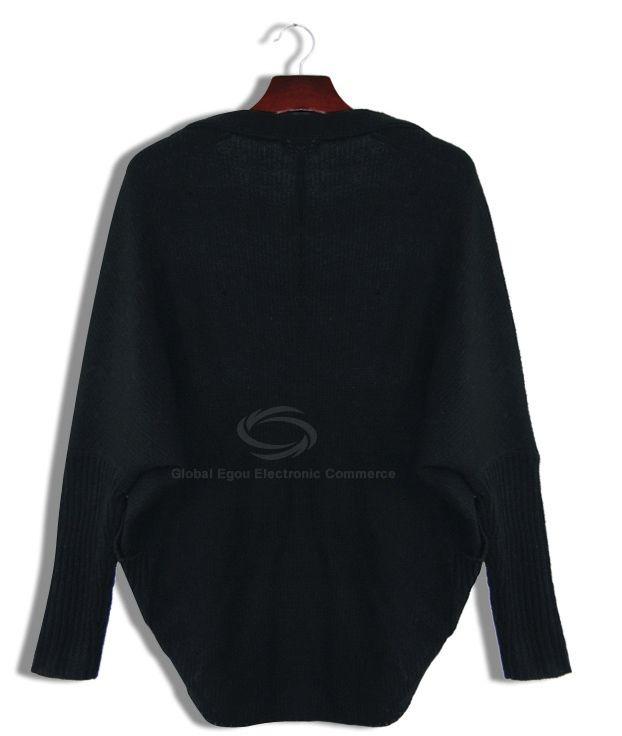 Fashion Tail Hem Lapel Collar Dolman Sleeves Women's Loose-Fit Cardigan