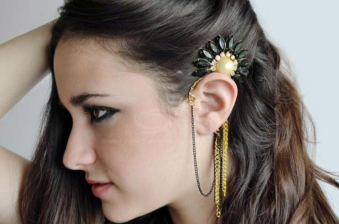 Stunning Style Flower Shape Rhinestone Embellished Faux Pearl Inlaid Alloy Chains Women's Earrings For