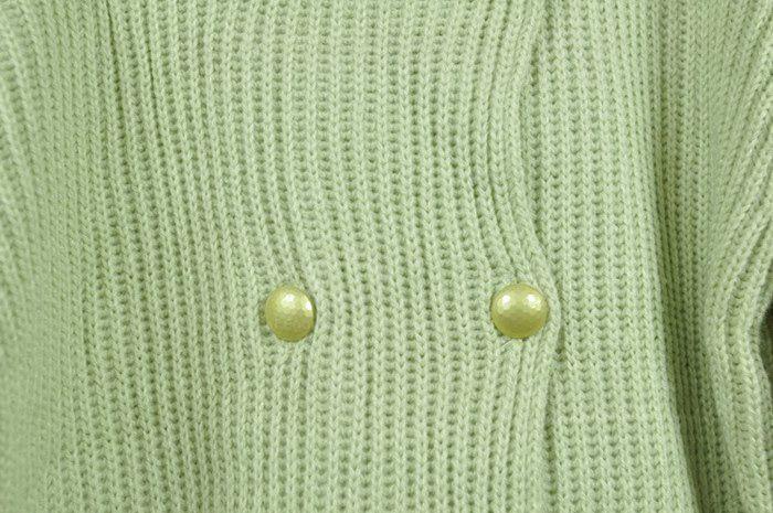 V-Neck Faux Pearl Button Flouncing Hem Puff Long Sleeve Light Green Wool Blend Knitwear Women's Cardigan
