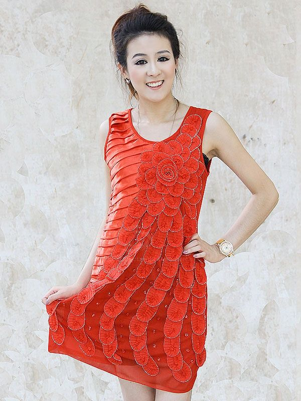 Gorgeous Slimming Style Stereo Flowers and Rhinestone Embellished Draped Sleeveless Voile Women's Dress