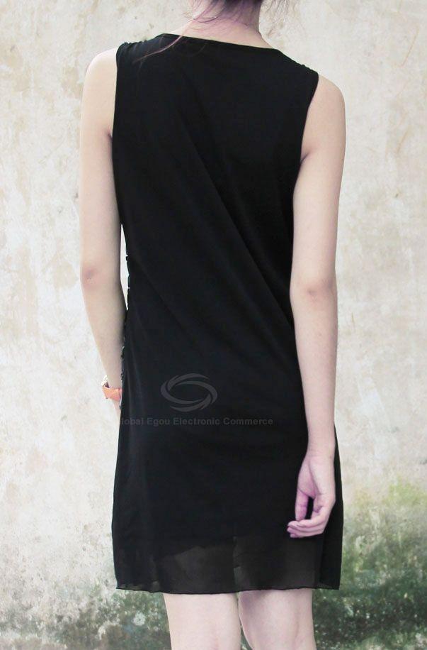 Gorgeous Sophisticated Slimming Rhinestone Embellished U-Neck Sleeveless Voile Women's Dress