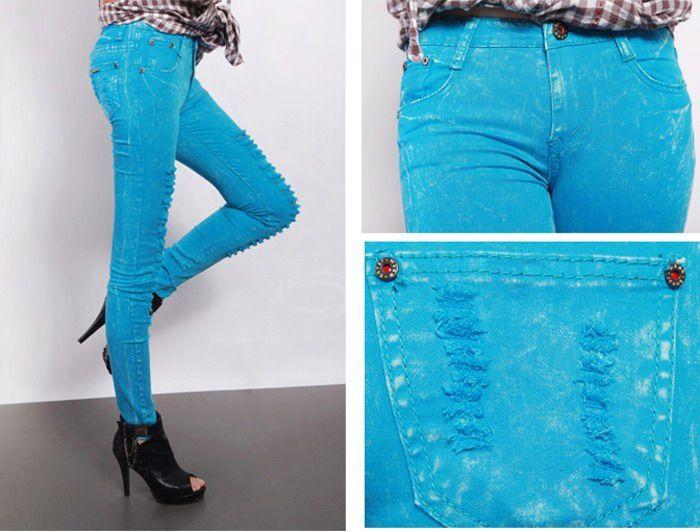 Stylish Slimming Fit Rhinestone Embellished Ripped Women's Skinny Jeans