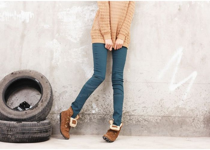Sweet Style Slimming Waistband Width Design Candy Color Bottoming Pencil Jeans Women's Pants