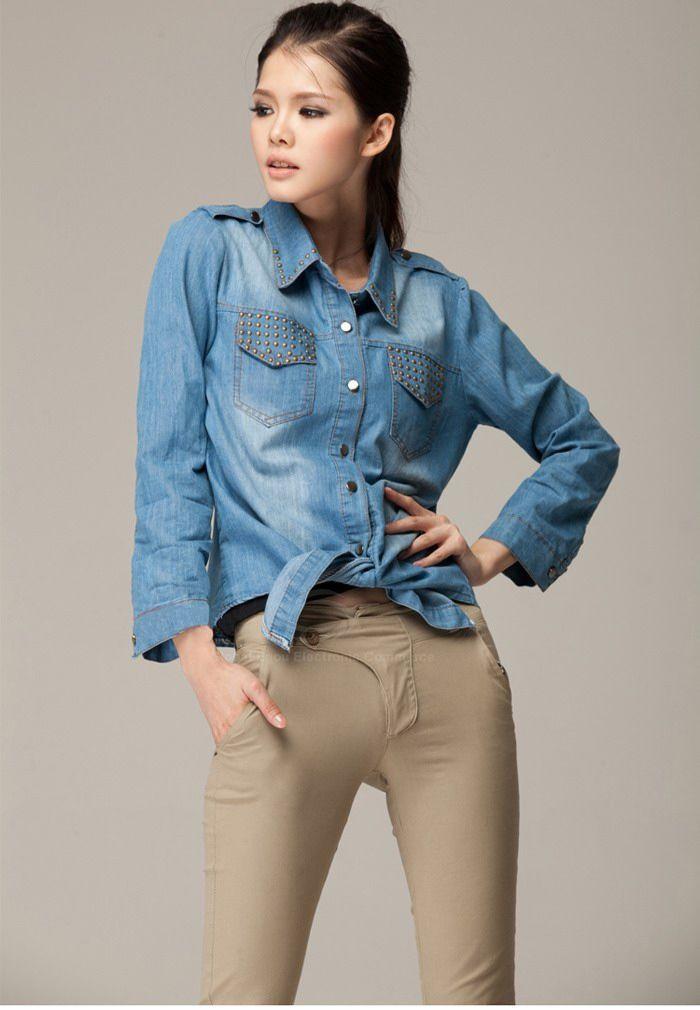 Stylish Rivet Pocket and Collar Frenum Knot Design Women's Denim Shirt